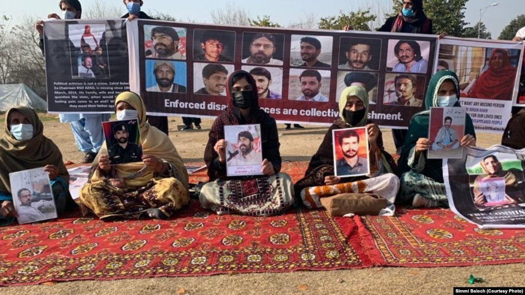 Relatives of forcibly disappeared people from Balochistan Province staged a protest and hunger strike in Islamabad on February 11.