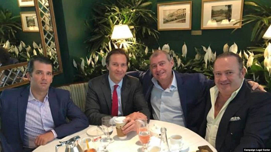 A Facebook screen shot showing from left to right: Donald Trump Jr., Tommy Hicks Jr., Lev Parnas, and Igor Fruman in May 2018.